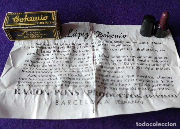 Miniaturas de perfumes antiguos: ANTIGUA MINIATURA LAPIZ DE LABIOS. PINTALABIOS. BOHEMIO. RAMON PONS. CAJA E INSTRUCCIONES.AÑOS 30-40 - Foto 2 - 96704971