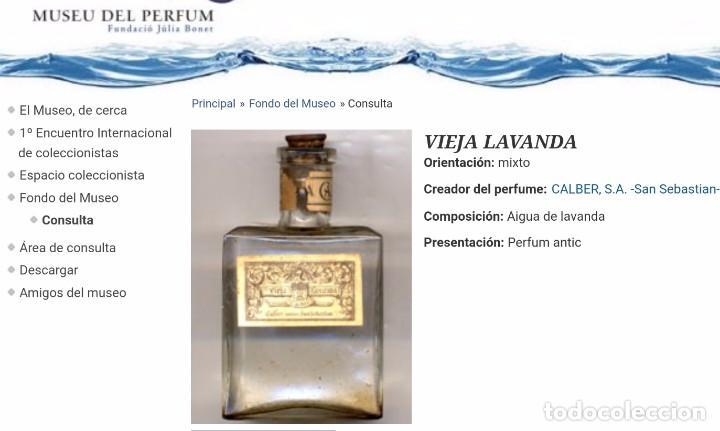 Miniaturas de perfumes antiguos: ANTIGUO FRASCO DE PERFUME VIEJA LAVANDA. CALBER. SAN SEBASTIAN. 1922 CREACION. MINIATURA. - Foto 6 - 99364487