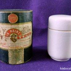 Miniaturas de perfumes antiguos: LA REINE DES CREMES. CAJA ORIGINAL Y SU TARRO DE PORCELANA. J.LESQUENDIEU. AÑOS 20. COSMETICA. CREMA. Lote 99366955