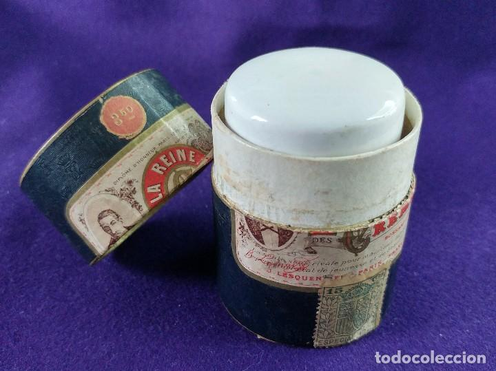 Miniaturas de perfumes antiguos: LA REINE DES CREMES. CAJA ORIGINAL Y SU TARRO DE PORCELANA. J.LESQUENDIEU. AÑOS 20. COSMETICA. CREMA - Foto 5 - 99366955