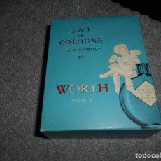 Miniaturas de perfumes antiguos: BOTE GRANDE AGUA DE COLONIA JE REVIENS WORTH PARIS CAJA AÑOS 70 80 NUEVO RARO !!!. Lote 100651995