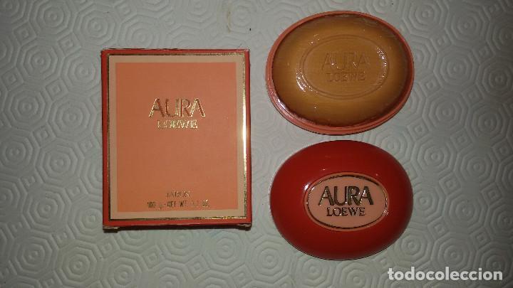 LOEWE AURA. PASTILLA JABON Y JABONERA. DESCATALOGADA Y PRECINTADA. 100 G. (Coleccionismo - Miniaturas de Perfumes)