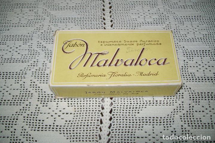 CAJA DE CARTÓN JABÓN MALVALOCA PERFUMERÍA FLORALIA MADRID (Coleccionismo - Miniaturas de Perfumes)