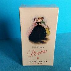 Miniaturas de perfumes antiguos: LOCIÓN PROMESA MYRURGIA 458 MEDIANO NUEVA PRECINTADA. Lote 117197047