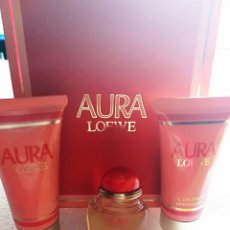 Miniaturas de perfumes antiguos: PERFUME MINIATURA AURA DE LOEWE VERSIÓN ORIGINAL + GEL + BODY MILK. Lote 124149443