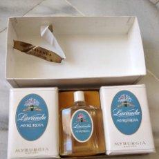Miniaturas de perfumes antiguos: LOTE DE JABÓN Y COLONIA LAVANDA MIRURGIA. Lote 130585416