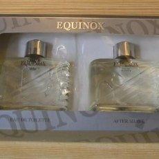 Miniaturas de perfumes antiguos: EQUINOX-ESTUCHE CON COLONIA Y MASAJE PARA DESPUES DEL AFEITADO.. Lote 131073864