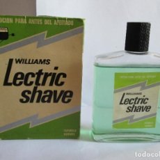 Miniaturas de perfumes antiguos: WILLIAMS - LECTRIC SHAVE - LOCION ANTES DEL AFEITADO - 160 ML - CON CAJA ORIGINAL. Lote 138991146