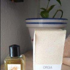 Miniaturas de perfumes antiguos: TARRO BOTE PERFUME ORGIA MYRURGIA. NUEVO AÑOS 70. Lote 163232784