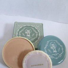 Miniaturas de perfumes antiguos: POLVO CREMA - MADERAS MYRURGIA - 02. N RACHEL - SIN USAR CON CAJITA ORIGINAL - 7,5X7,5. Lote 144616670
