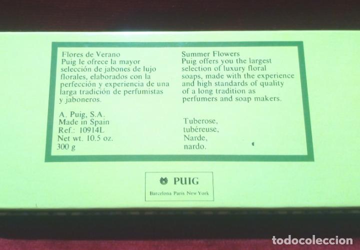 Miniaturas de perfumes antiguos: CAJA DE TRES JABONES PUIG . FLORES DE VERANO -AÑOS 70 - NUEVOS SIN ABRIR - Foto 4 - 151254734