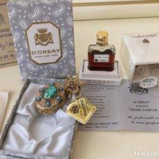 Miniaturas de perfumes antiguos: PERFUME VINTAGE D'ORSAY VOULEZ-VOUS 7.5 ML Y PERFUME SECO EN EL COLGANTE. Lote 166336166