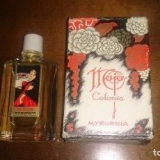 Miniaturas de perfumes antiguos: FRASCO MINIATURA COLONIA MAJA DE MYRURGIA, CON SU CAJA. LLENA.. Lote 166721382