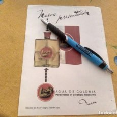 Miniaturas de perfumes antiguos: ANTIGUO DOBLE ANUNCIO AGUA DE COLONIA PARA HOMBRE LUCKY TRASERA TELEVISION TELEVISOR WERNER. Lote 170367276