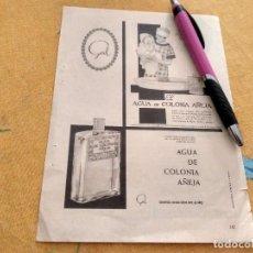 Miniaturas de perfumes antiguos: ANTIGUO ANUNCIO PUBLICIDAD REVISTA AGUA DE COLONIA AÑEJA TRASERA RECONSTITUYENTE GENOFOSFER. Lote 171169513