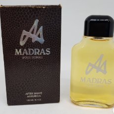 Miniaturas de perfumes antiguos: MADRAS AFTER SHAVE MYRURGIA 100 ML SIN USO DE ANTIGUA PERFUMERÍA. Lote 177083008