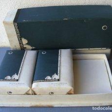 Miniaturas de perfumes antiguos: CAJA MYRURGIA MADERAS DE ORIENTE - 2 JABONES FALTA EL PERFUME (SEÑALES DE EDAD). Lote 179538957