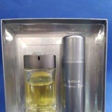Miniaturas de perfumes antiguos: AGUA , MASSIMO DUTTI, ESTUCHE , MYRURGIA. Lote 183931752