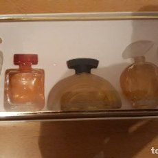 Miniaturas de perfumes antiguos: COFRE CON 4 MINIATURA DE PERFUME . Lote 194884061