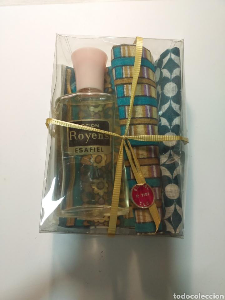 COLONIA LOCIÓN ROYENS ESAFIEL CON 2 PAÑUELOS (Coleccionismo - Miniaturas de Perfumes)