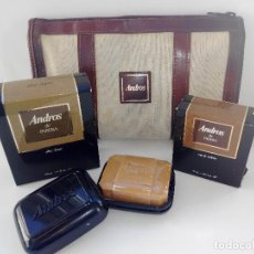 Miniaturas de perfumes antiguos: COLONIA ANDROS 55 ML + AFTER SHAVE 110 ML + JABON TOCADOR 110 GR - NECESER. Lote 195487785