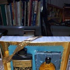 Miniaturas de perfumes antiguos: ÚNICO Y DIFÍCIL CONJUNTO PERFUME Y POLVOS DE TALCO TIARA BOUQUET LENTHERIC COMPLETO. Lote 196331102