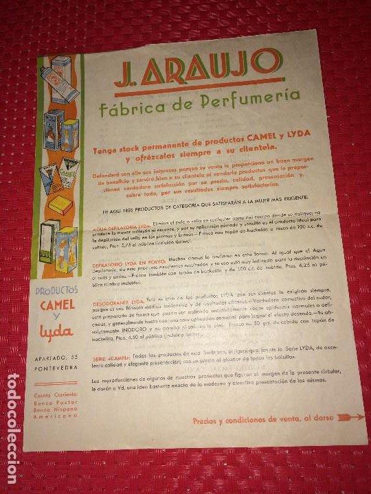 FABRICA DE PERFUMERÍA J. ARAUJO - CAMEL Y LYDA - PONTEVEDRA - PRECIOS Y CONDICIONES - AÑOS 40 (Coleccionismo - Miniaturas de Perfumes)