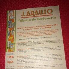 Miniaturas de perfumes antiguos: FABRICA DE PERFUMERÍA J. ARAUJO - CAMEL Y LYDA - PONTEVEDRA - PRECIOS Y CONDICIONES - AÑOS 40. Lote 197087336