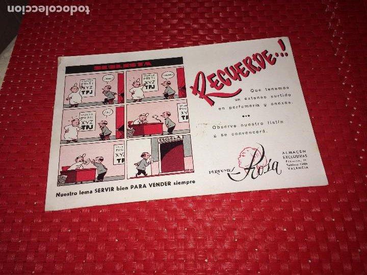 PERFUMES ROSA - VALENCIA - PAPEL SECANTE - AÑOS 40 (Coleccionismo - Miniaturas de Perfumes)