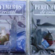 Miniaturas de perfumes antiguos: PERFUMERO DE CRISTAL DE MURANO Nº 6 Y 19 ORBIS FABBRI - RBA EN SU BLISTER ORIGINAL CON FASCICULO . Lote 200240998