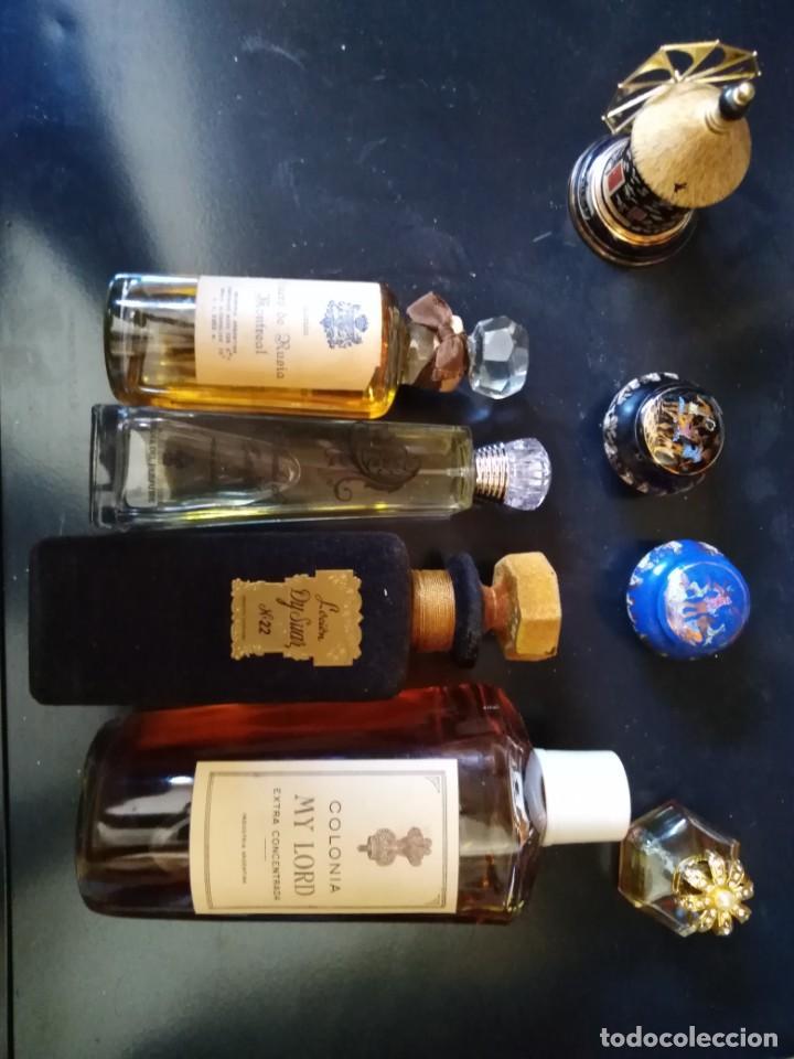 Miniaturas de perfumes antiguos: PERFUMES 8 BOTELLAS DE DIFERENTES TAMAÑOS COLONIA MY LORD EXTRA RUSIA MONTREAL - Foto 2 - 205573052