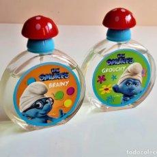 Miniaturas de perfumes antiguos: SMURFS DOS COLONIAS PERFUME LOS PITUFOS 50.ML. - 9.5.CM ALTO ENTERAS. Lote 206340683