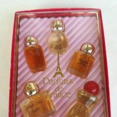 Échantillons de parfums anciens: PARFUMS DE FRANCE CHARRIER PARFUMS - 5 MINIATURAS DE PERFUMES DE FRANCIA NUEVOS EN CAJA. Lote 206937951