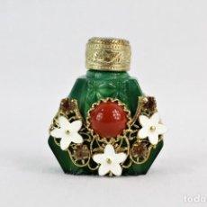 Miniaturas de perfumes antiguos: SNUFF BOTTLE DE COLECCIÓN PERFUMERO DE CRISTAL DE MURANO Y LABRADOS, GEMAS Y DETALLES PRECIOSOS. Lote 210644558