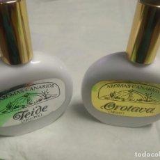 Miniaturas de perfumes antiguos: RARO LOTE DE COLONIAS AROMAS CANARIOS - TEIDE (HOMBRE) Y OROTAVA (MUJER) -. Lote 214380913