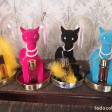 Miniature di profumi antiche: MAX FACTOR - 4 SOPHISTI CAT CON PERFUME HIPNOTIQUE Y PRIMITIF- AÑOS 60-70. Lote 218359512