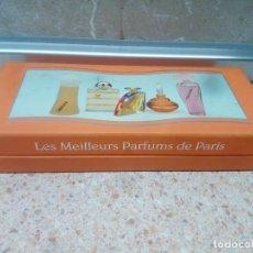 Miniaturas de perfumes antiguos: LOS MEJORES PERFUMES DE PARIS, COLECCION DE MINI PERFUMES DE EN CAJA ORIGINAL * LLENAS *. Lote 219606085