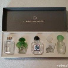 Miniaturas de perfumes antiguos: ESTUCHE CON 5 MINIATURAS VACÍAS PARFUMS GRES PARIS. Lote 234051130