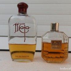 Miniaturas de perfumes antiguos: 2 ANTIGUOS FRASCOS CON COLONIA MAJA. MYRURGIA ESPAÑA.. Lote 222158258