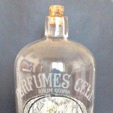 Miniaturas de perfumes antiguos: GRAN BOTELLA DE PERFUMES CELI. RHUM QUINA. COLONIA A GRANEL. BARCELONA. PRINCIPIOS SIGLO XX. Lote 236450715