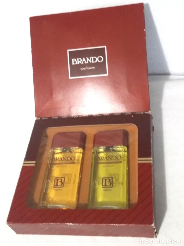 Miniaturas de perfumes antiguos: ESTUCHE COLONIA BRANDO. FRASCO COLONIA 100 ML. FRASCO MASAJE 100ML. - Foto 2 - 247583165