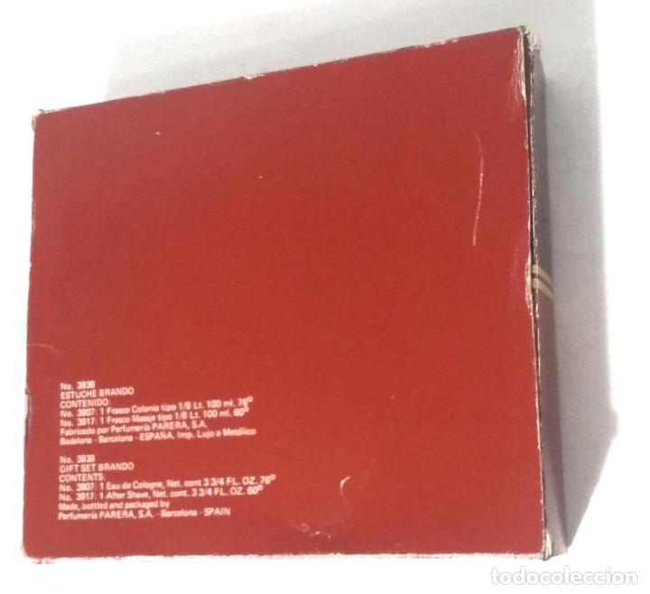 Miniaturas de perfumes antiguos: ESTUCHE COLONIA BRANDO. FRASCO COLONIA 100 ML. FRASCO MASAJE 100ML. - Foto 3 - 247583165