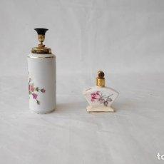 Miniaturas de perfumes antiguos: PAREJA DE FRASCOS DE PERFUME ANTIGUOS. Lote 248765725