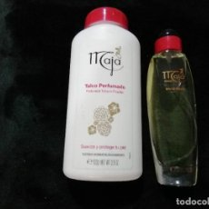 Miniaturas de perfumes antiguos: CONJUNTO DE PEFUME Y POLVO DE TALCO MAJA MYRUGIA. Lote 249142015