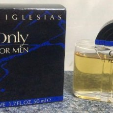 Miniaturas de perfumes antigos: ST 739 AFTER SHAVE ONLY FOR MEN JULIO IGLESIAS 7.2 CM ALTO 50 ML FRASCO LLENO COLONIA PERFUME. Lote 251421050