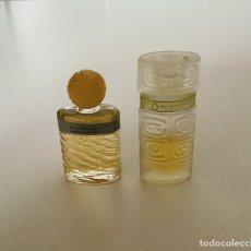 Miniaturas de perfumes antiguos: LOTE DE DOS FRASCOS CRISTAL MINIATURA D'EAU DEROCHAS Y EAU DE LANCÔME. AÑOS 70, CASÍ LLENOS. Lote 255537810