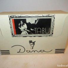 Miniaturas de perfumes antiguos: TABU ANTIGUA CAJA CON 12 LOCIONES DE COLONIA DE DANA DE 16 ML EN SU CAJA NUEVA RESTO PERFUMERIA. Lote 263186780
