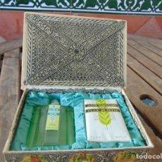 Miniaturas de perfumes antiguos: COLONIA Y JABON PERFUMADO FLOR DE OLIVA DE TENA SEVILLA EN SU CAJA ORIGINAL. Lote 263224595