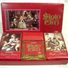 Miniaturas de perfumes antiguos: SIGLO DE ORO-VERA SPAIN AÑOS 70-COLONIA+ 2X JABON- ¡¡SIN USO¡¡-MENINAS PERFUME BOTE CRISTAL FRASCO. Lote 269786878
