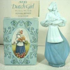 Miniaturas de perfumes antiguos: RARO FRASCO COLONIA - AVON DUTCH GIRL ROSES ROSES - EN CAJA - FIGURA COLECCIONABLE-BOTE ROSAS ROSAS. Lote 269789798